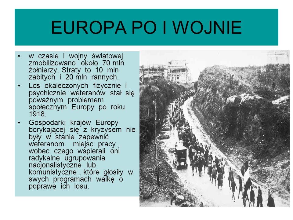 EUROPA PO I WOJNIE w czasie I wojny światowej zmobilizowano około 70 mln żołnierzy. Straty to 10 mln zabitych i 20 mln rannych. Los okaleczonych fizyc