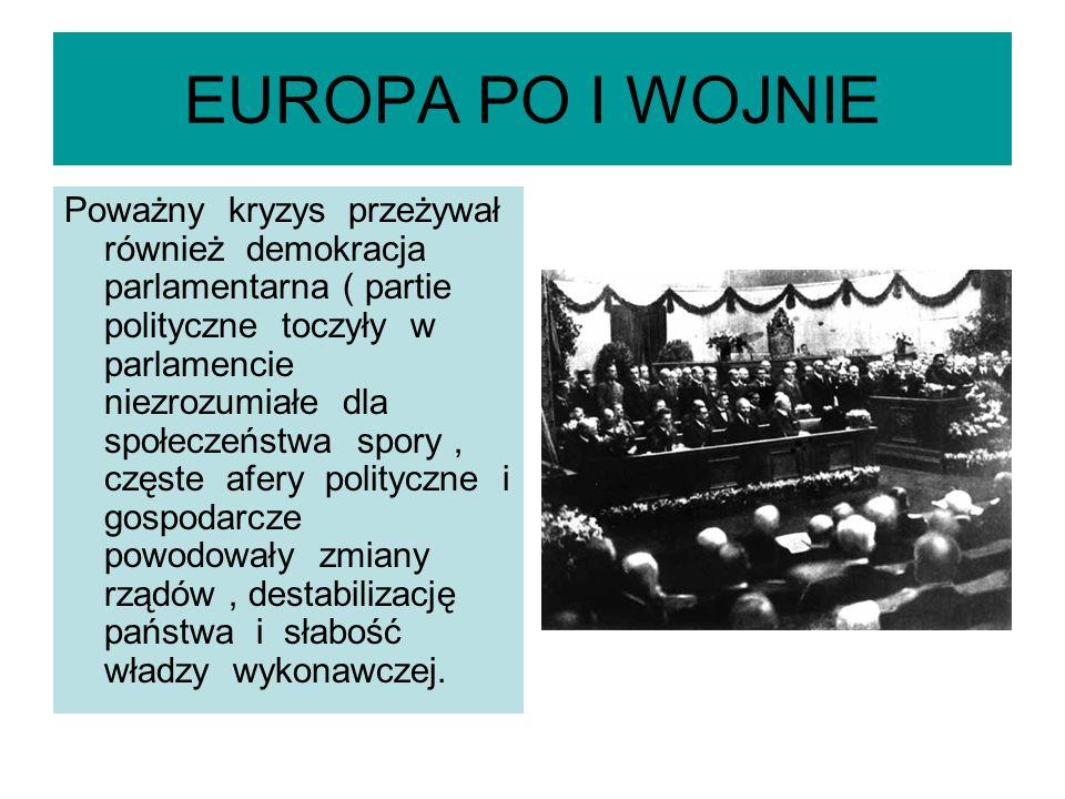 EUROPA PO I WOJNIE Społeczeństwa państw europejskich domagały się nie tyle gwarancji swobód demokratycznych co,, silnej ręki '', które zapewniłyby w państwie ład i porządek.