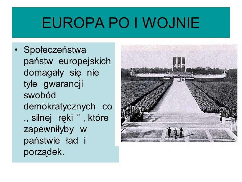 WAŻNIEJSZE PRZEWROTY I ZAMACHY STANU 1918-1939 RokPaństwoPrzewrót 1920Węgryregent admirał Mikols Horthy (do 1944) 1022WłochyBenito Mussolini ( do 1945) 1923Turcjagen Ataturk Kemal ( mustafa Kemal Pasza) do 1938 1923HIszpaniagen Miguel Primo de Rivera ( do 1930) 1925LitwaAntanas Smetona ( do 1940) 1926AlbaniaAhmed bed Zogu ( do 1939) 1926PortugaliaAntonio Salazar ( do 1968) 1926PolskaJózef Piłsudski ( do 1935) 1929Jugosławiakról Aleksander Ido 1934) 1930Rumuniakról Karol II ( do 1940) 1933AustriaEnglebert Dolfuss) ( do 1934) 1934EstoniaKonstantin Pats 9do 1940) 1934ŁotwaKarlis Ulmanis 9 do 1940) 1934Bułgariacar Borys III ( do 1945) 1936Grecjagen.