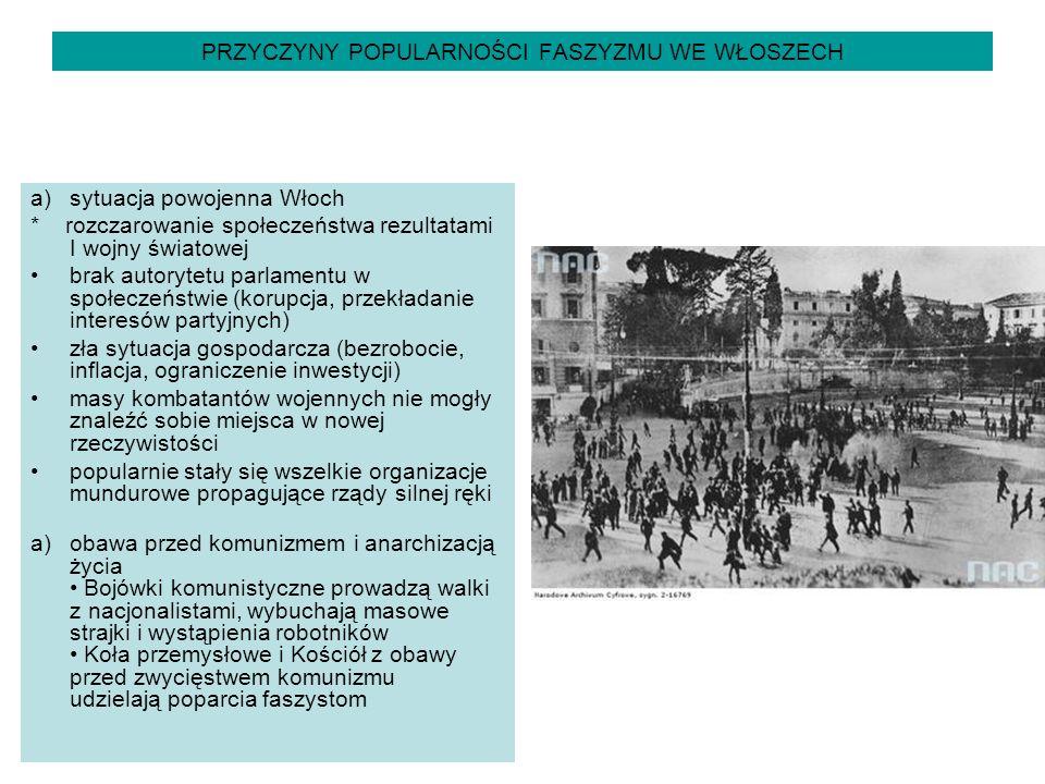PRZYCZYNY POPULARNOŚCI FASZYZMU WE WŁOSZECH a)sytuacja powojenna Włoch * rozczarowanie społeczeństwa rezultatami I wojny światowej brak autorytetu par
