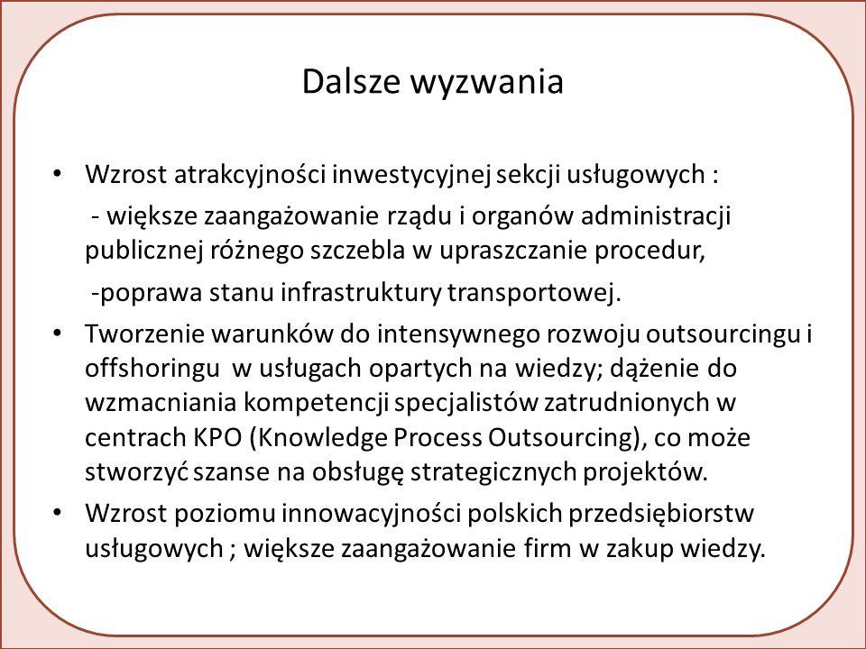 Dalsze wyzwania Wzrost atrakcyjności inwestycyjnej sekcji usługowych : - większe zaangażowanie rządu i organów administracji publicznej różnego szczebla w upraszczanie procedur, -poprawa stanu infrastruktury transportowej.