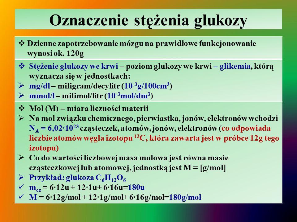 Oznaczenie stężenia glukozy  Dzienne zapotrzebowanie mózgu na prawidłowe funkcjonowanie wynosi ok.