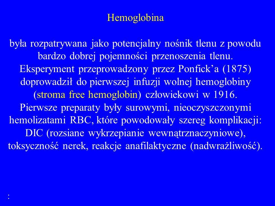Hemoglobina była rozpatrywana jako potencjalny nośnik tlenu z powodu bardzo dobrej pojemności przenoszenia tlenu. Eksperyment przeprowadzony przez Pon
