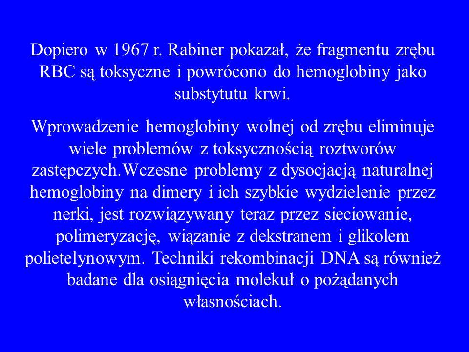 Dopiero w 1967 r. Rabiner pokazał, że fragmentu zrębu RBC są toksyczne i powrócono do hemoglobiny jako substytutu krwi. Wprowadzenie hemoglobiny wolne