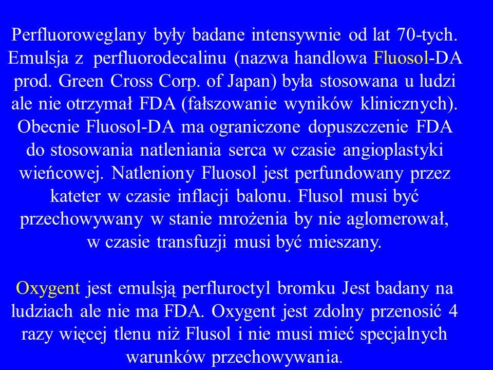 Perfluoroweglany były badane intensywnie od lat 70-tych. Emulsja z perfluorodecalinu (nazwa handlowa Fluosol-DA prod. Green Cross Corp. of Japan) była