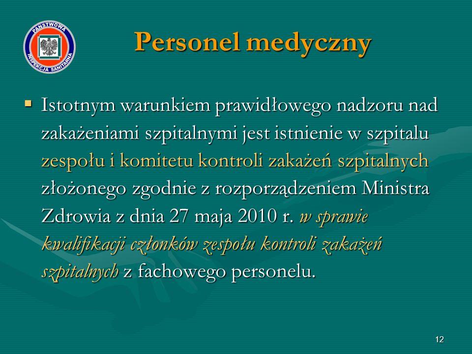 12  Istotnym warunkiem prawidłowego nadzoru nad zakażeniami szpitalnymi jest istnienie w szpitalu zespołu i komitetu kontroli zakażeń szpitalnych złożonego zgodnie z rozporządzeniem Ministra Zdrowia z dnia 27 maja 2010 r.