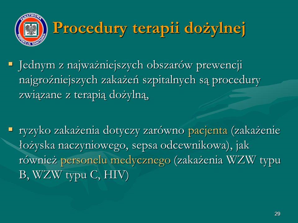 29 Procedury terapii dożylnej  Jednym z najważniejszych obszarów prewencji najgroźniejszych zakażeń szpitalnych są procedury związane z terapią dożylną,  ryzyko zakażenia dotyczy zarówno pacjenta (zakażenie łożyska naczyniowego, sepsa odcewnikowa), jak również personelu medycznego (zakażenia WZW typu B, WZW typu C, HIV)