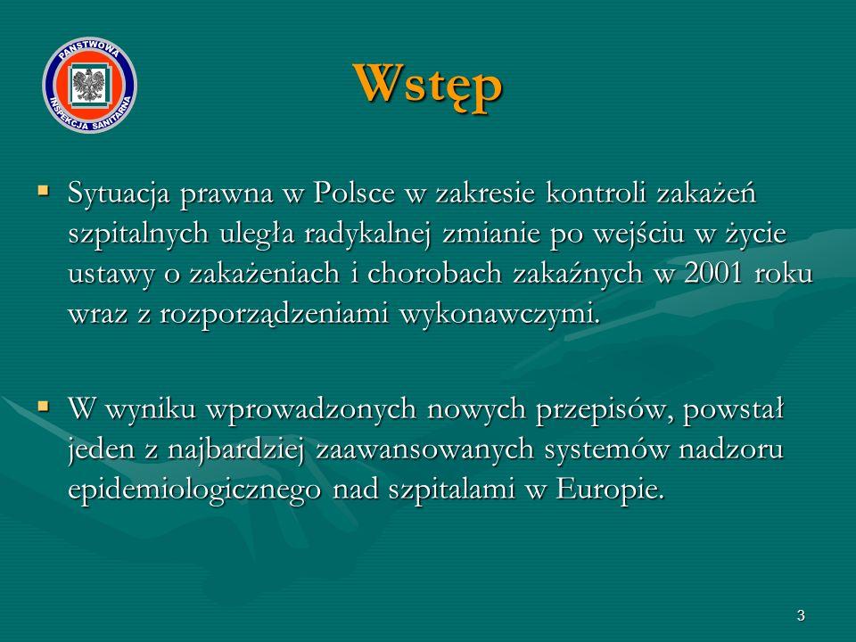  Sytuacja prawna w Polsce w zakresie kontroli zakażeń szpitalnych uległa radykalnej zmianie po wejściu w życie ustawy o zakażeniach i chorobach zakaź