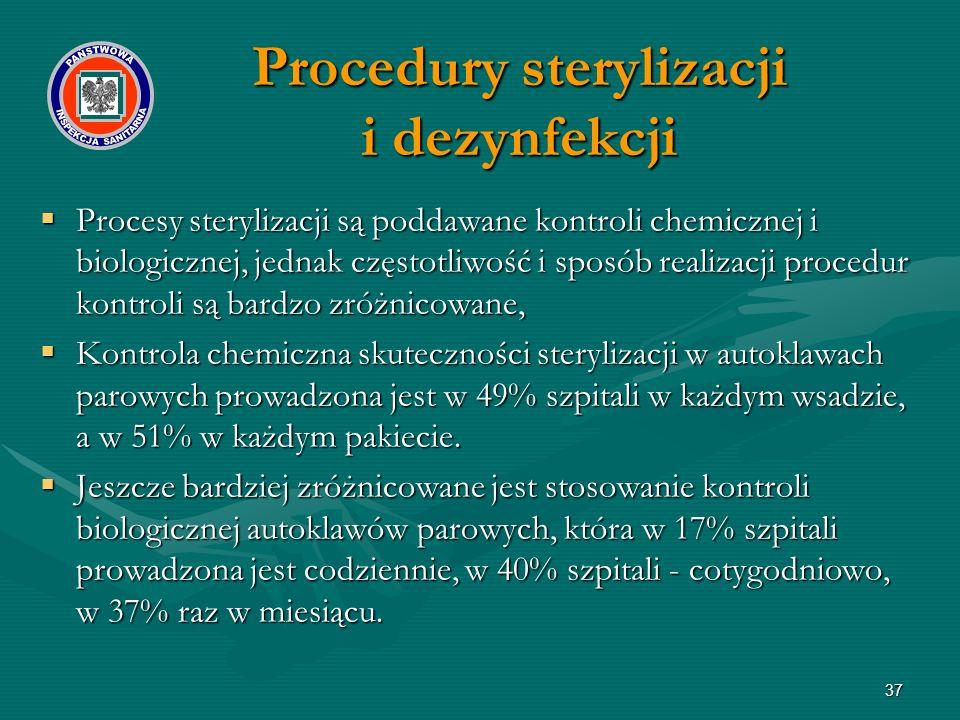 37  Procesy sterylizacji są poddawane kontroli chemicznej i biologicznej, jednak częstotliwość i sposób realizacji procedur kontroli są bardzo zróżnicowane,  Kontrola chemiczna skuteczności sterylizacji w autoklawach parowych prowadzona jest w 49% szpitali w każdym wsadzie, a w 51% w każdym pakiecie.