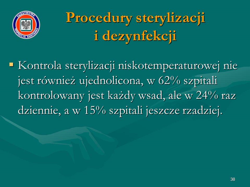 38  Kontrola sterylizacji niskotemperaturowej nie jest również ujednolicona, w 62% szpitali kontrolowany jest każdy wsad, ale w 24% raz dziennie, a w 15% szpitali jeszcze rzadziej.