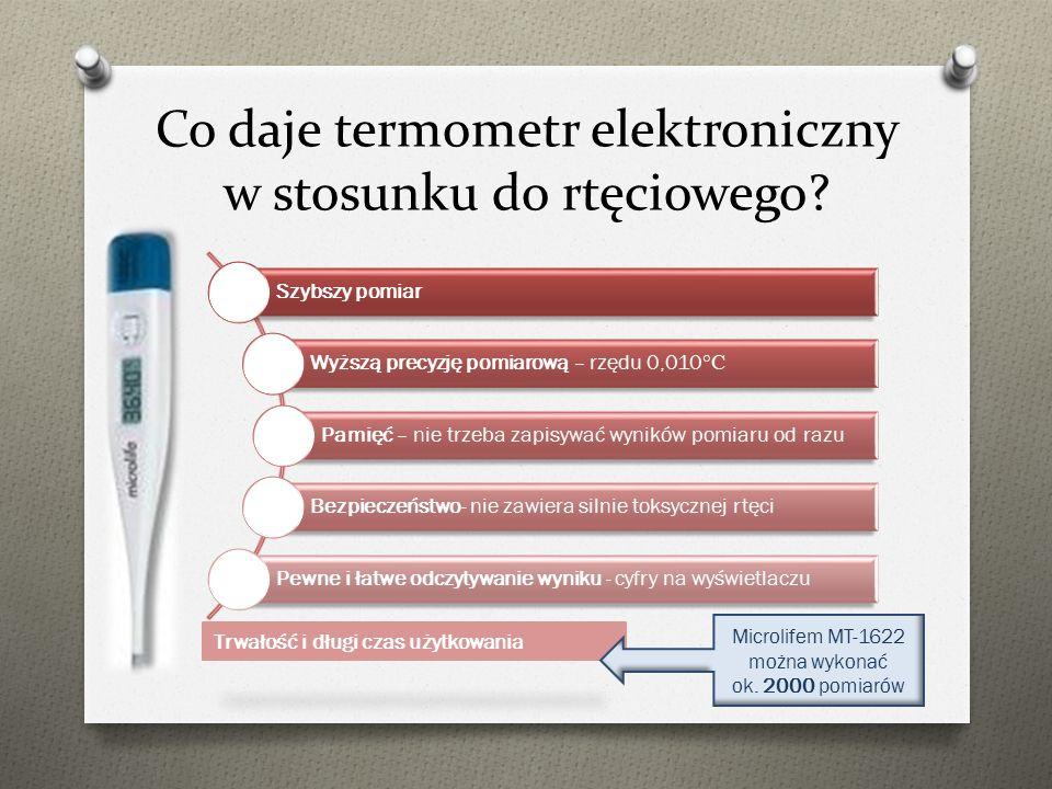 Co daje termometr elektroniczny w stosunku do rtęciowego? Szybszy pomiar Wyższą precyzję pomiarową – rzędu 0,010 °C Pamięć – nie trzeba zapisywać wyni