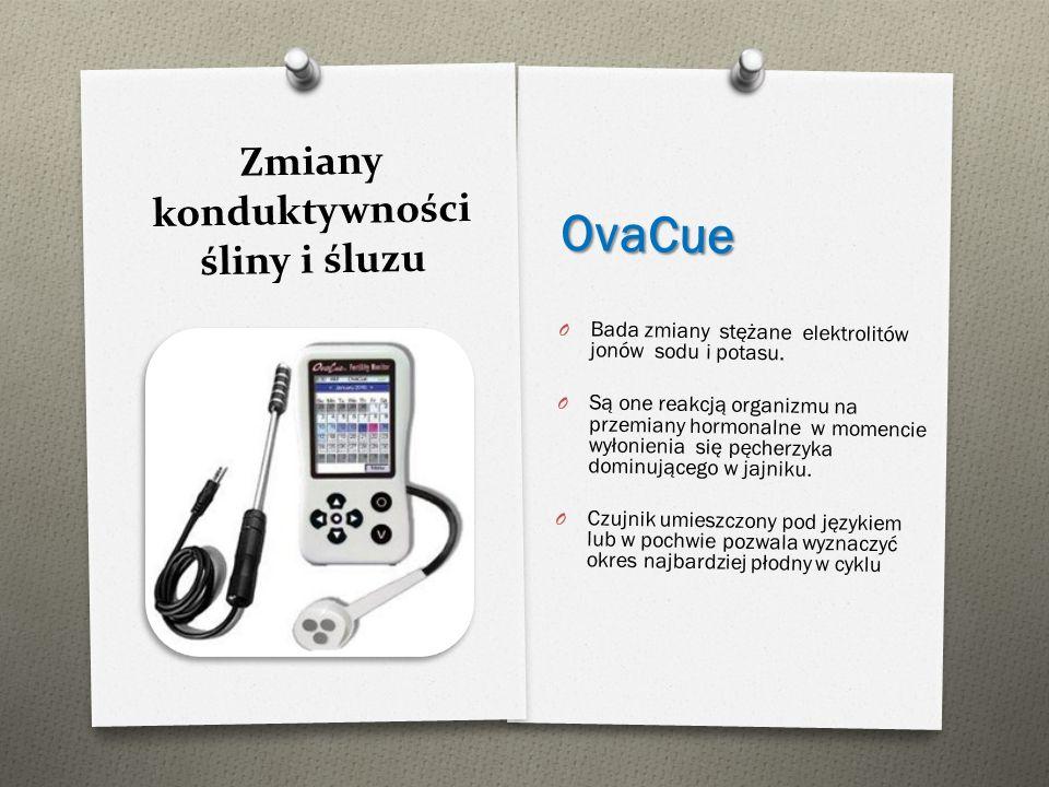 Zmiany konduktywności śliny i śluzu OvaCue O Bada zmiany stężane elektrolitów jonów sodu i potasu. O Są one reakcją organizmu na przemiany hormonalne