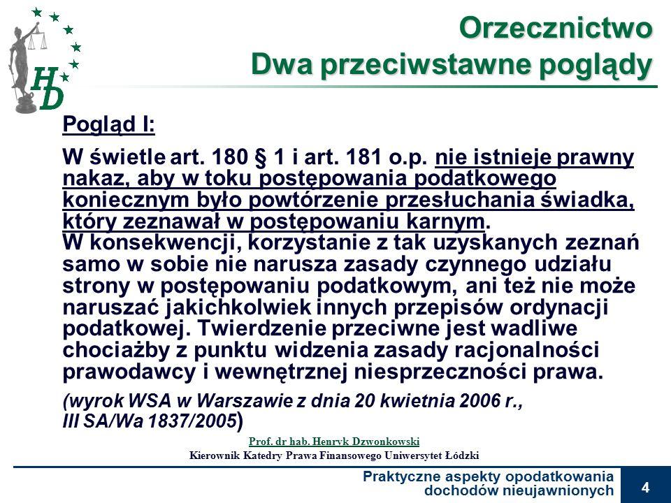 Praktyczne aspekty opodatkowania dochodów nieujawnionych 4 Orzecznictwo Dwa przeciwstawne poglądy Pogląd I: W świetle art.
