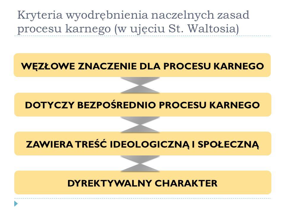 Kryteria wyodrębnienia naczelnych zasad procesu karnego (w ujęciu St. Waltosia) WĘZŁOWE ZNACZENIE DLA PROCESU KARNEGO DOTYCZY BEZPOŚREDNIO PROCESU KAR