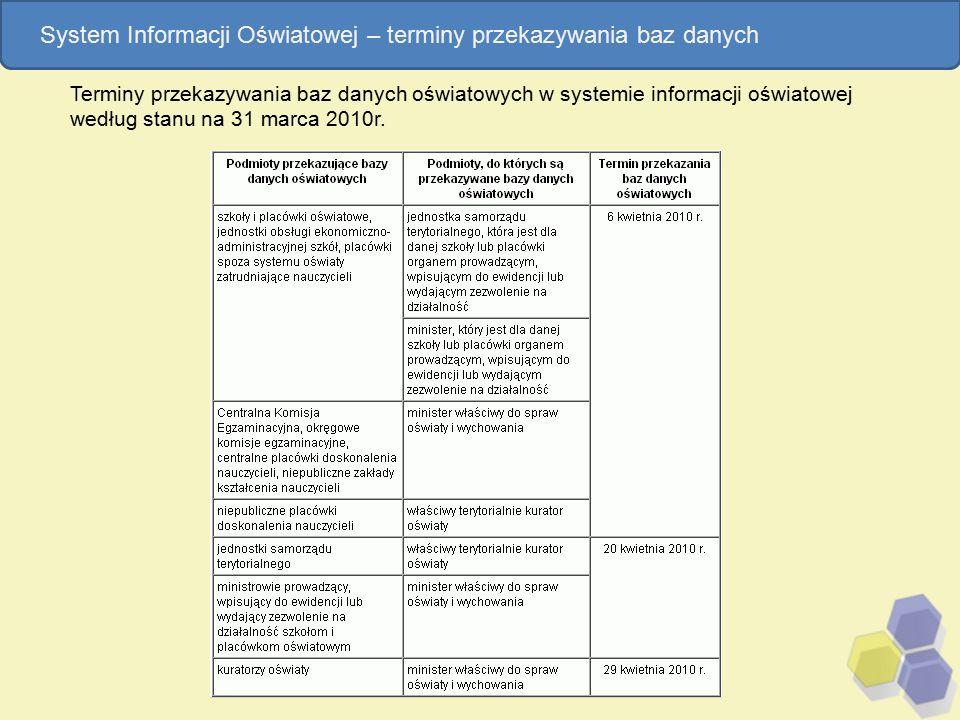 Terminy przekazywania baz danych oświatowych w systemie informacji oświatowej według stanu na 31 marca 2010r. System Informacji Oświatowej – terminy p