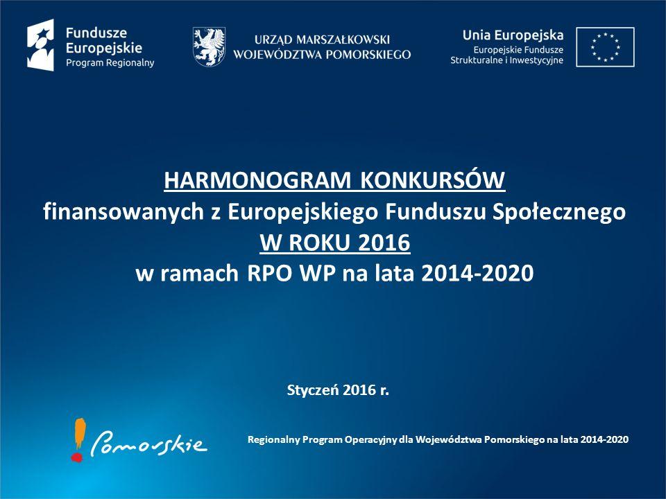 HARMONOGRAM KONKURSÓW finansowanych z Europejskiego Funduszu Społecznego W ROKU 2016 w ramach RPO WP na lata 2014-2020 Regionalny Program Operacyjny d