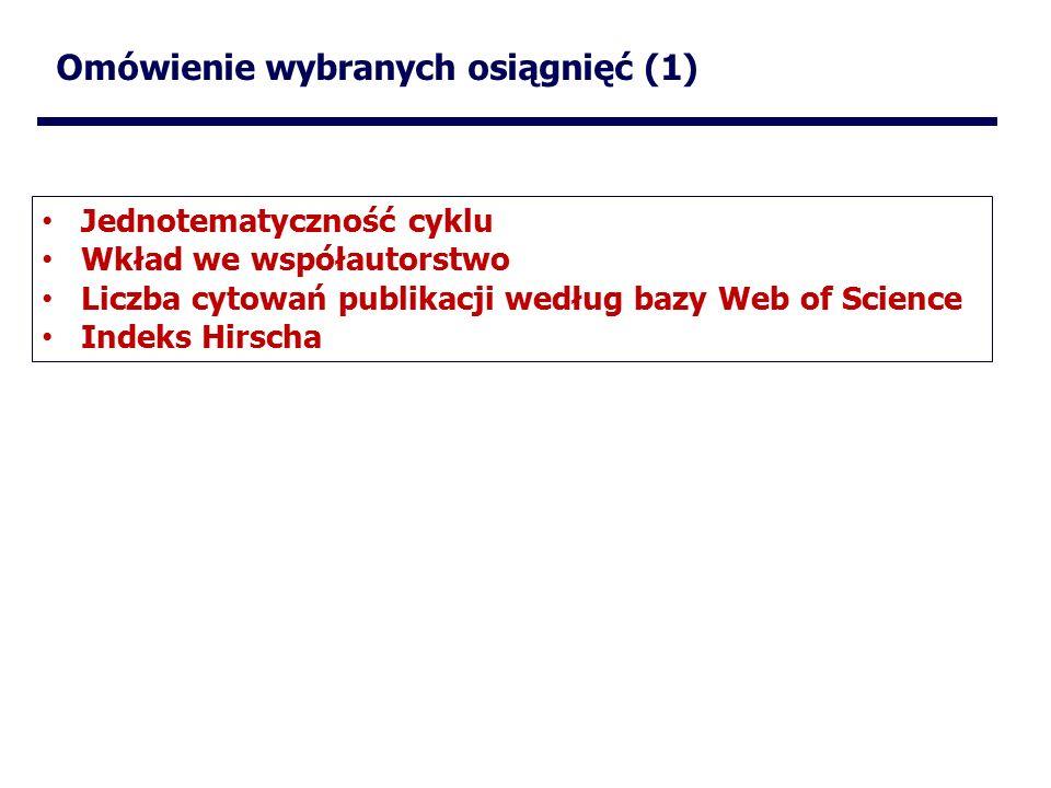 Omówienie wybranych osiągnięć (1) Jednotematyczność cyklu Wkład we współautorstwo Liczba cytowań publikacji według bazy Web of Science Indeks Hirscha