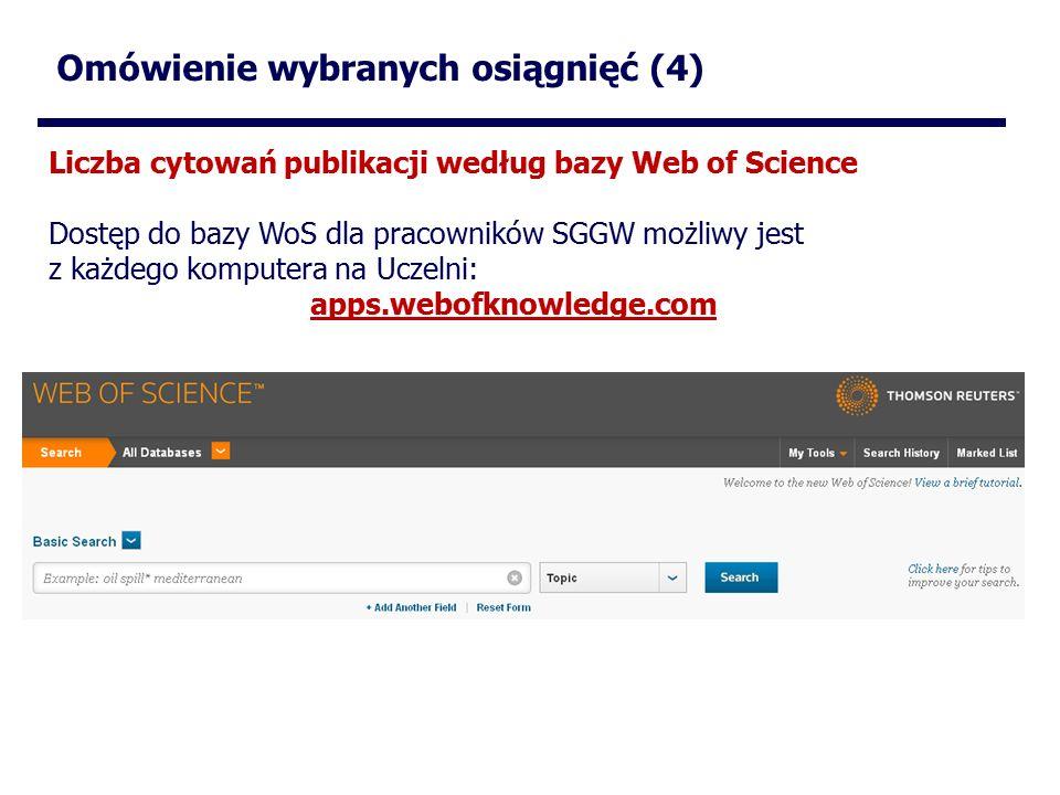 Omówienie wybranych osiągnięć (4) Liczba cytowań publikacji według bazy Web of Science Dostęp do bazy WoS dla pracowników SGGW możliwy jest z każdego komputera na Uczelni: apps.webofknowledge.com