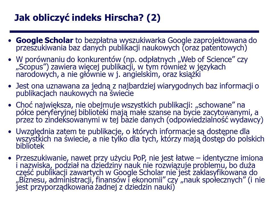 Jak obliczyć indeks Hirscha.
