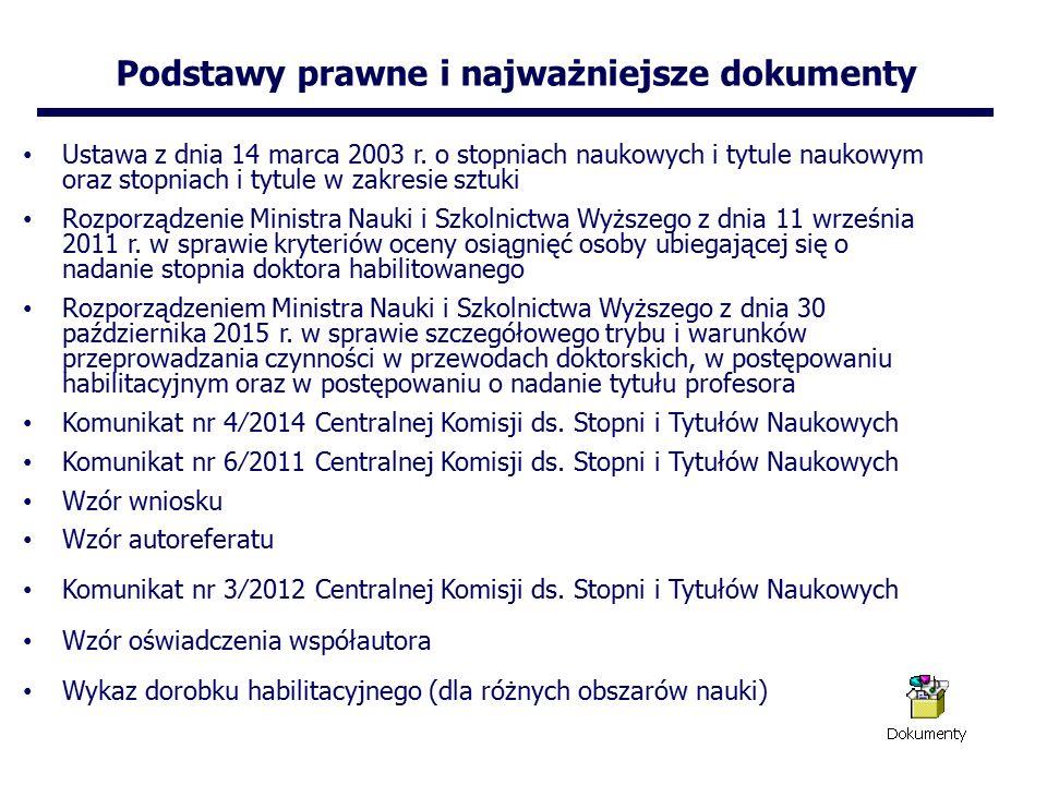 Podstawy prawne i najważniejsze dokumenty Ustawa z dnia 14 marca 2003 r.