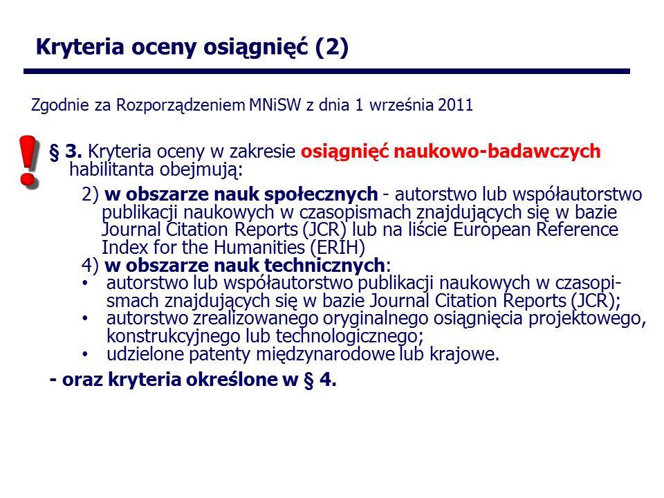 Kryteria oceny osiągnięć (2) § 3.
