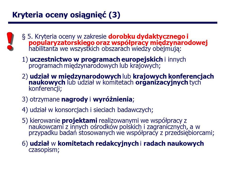 Kryteria oceny osiągnięć (3) § 5.