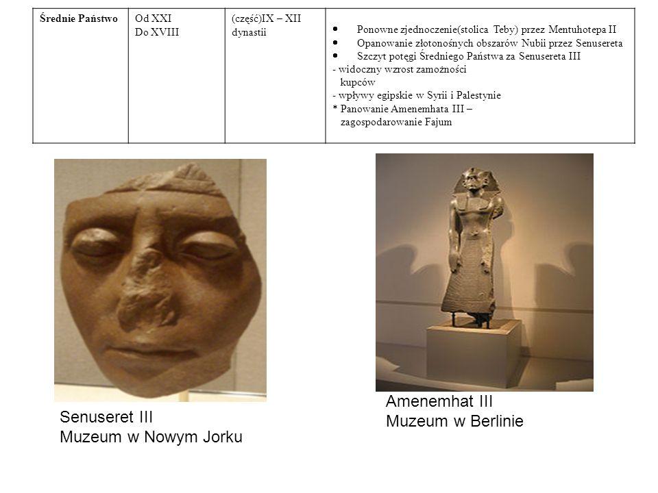 Średnie PaństwoOd XXI Do XVIII (część)IX – XII dynastii  Ponowne zjednoczenie(stolica Teby) przez Mentuhotepa II  Opanowanie złotonośnych obszarów Nubii przez Senusereta  Szczyt potęgi Średniego Państwa za Senusereta III - widoczny wzrost zamożności kupców - wpływy egipskie w Syrii i Palestynie * Panowanie Amenemhata III – zagospodarowanie Fajum Senuseret III Muzeum w Nowym Jorku Amenemhat III Muzeum w Berlinie