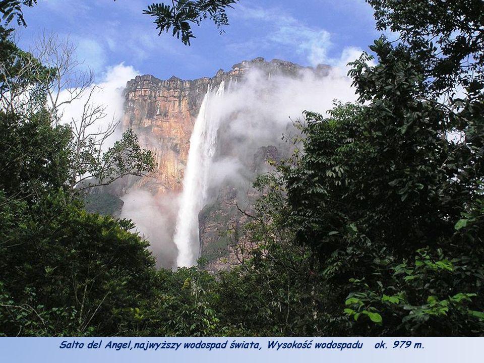 Salto del Angel,najwyższy wodospad świata, Wysokość wodospadu ok. 979 m.