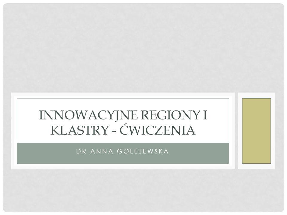 DR ANNA GOLEJEWSKA INNOWACYJNE REGIONY I KLASTRY - ĆWICZENIA