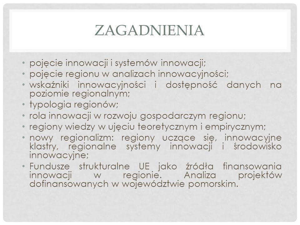 ZAGADNIENIA pojęcie innowacji i systemów innowacji; pojęcie regionu w analizach innowacyjności; wskaźniki innowacyjności i dostępność danych na poziomie regionalnym; typologia regionów; rola innowacji w rozwoju gospodarczym regionu; regiony wiedzy w ujęciu teoretycznym i empirycznym; nowy regionalizm: regiony uczące się, innowacyjne klastry, regionalne systemy innowacji i środowisko innowacyjne; Fundusze strukturalne UE jako źródła finansowania innowacji w regionie.