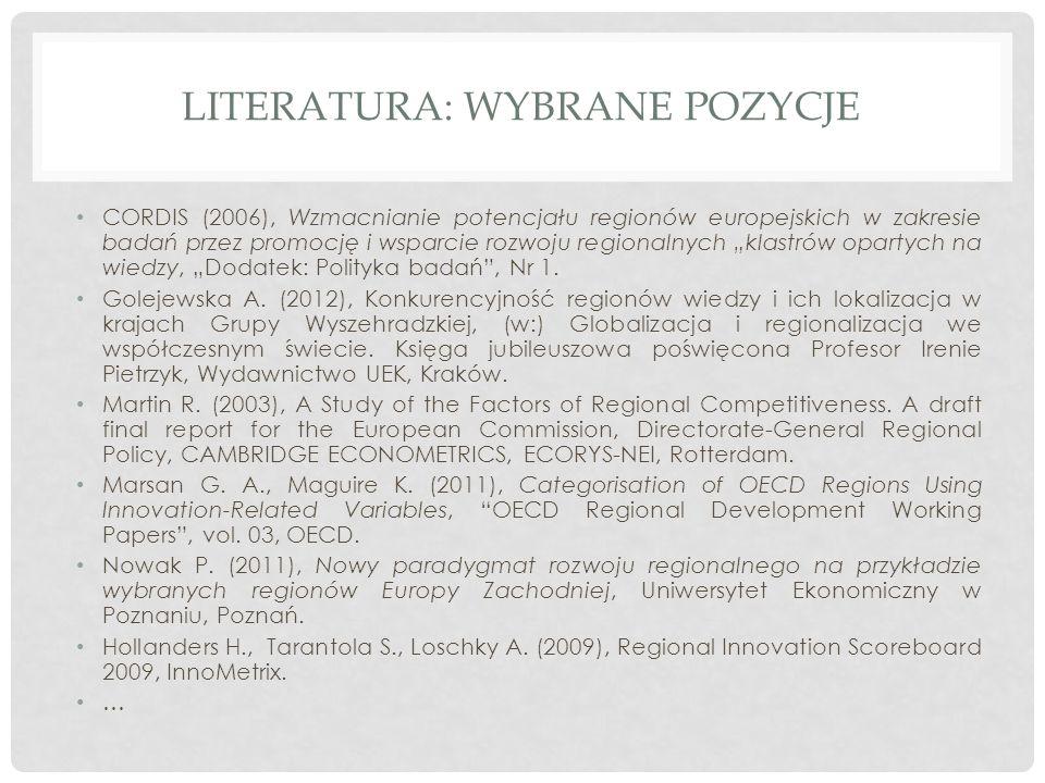 """LITERATURA: WYBRANE POZYCJE CORDIS (2006), Wzmacnianie potencjału regionów europejskich w zakresie badań przez promocję i wsparcie rozwoju regionalnych """"klastrów opartych na wiedzy, """"Dodatek: Polityka badań , Nr 1."""