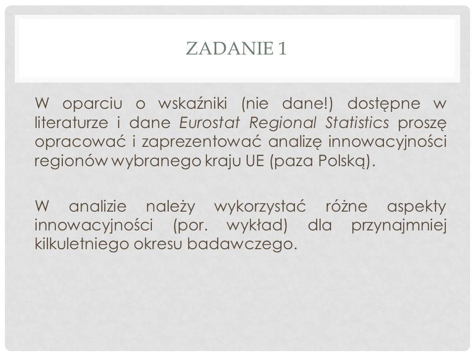 ZADANIE 1 W oparciu o wskaźniki (nie dane!) dostępne w literaturze i dane Eurostat Regional Statistics proszę opracować i zaprezentować analizę innowacyjności regionów wybranego kraju UE (paza Polską).