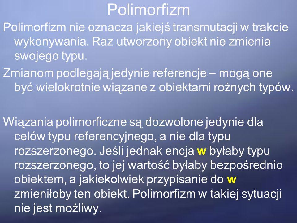 Polimorfizm Polimorfizm nie oznacza jakiejś transmutacji w trakcie wykonywania.
