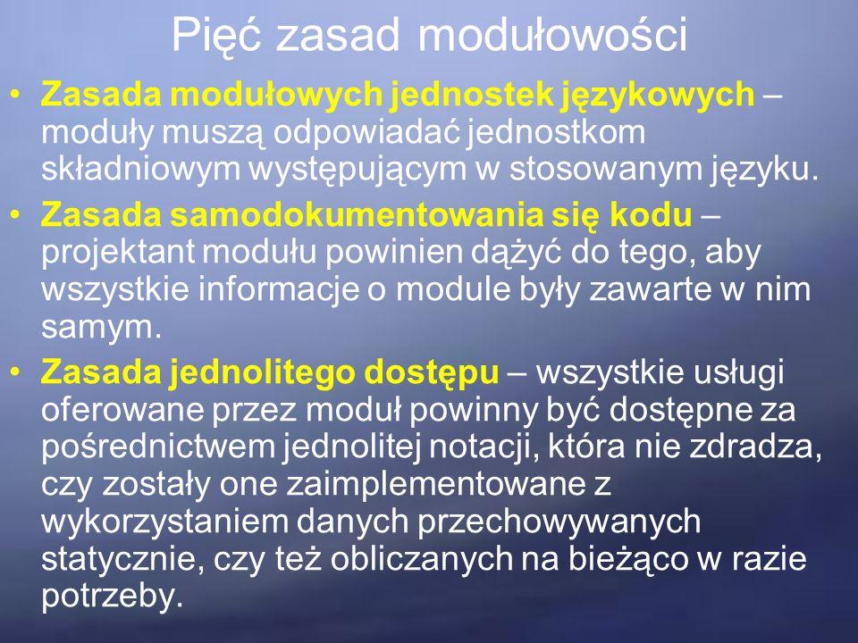 Pięć zasad modułowości Zasada modułowych jednostek językowych – moduły muszą odpowiadać jednostkom składniowym występującym w stosowanym języku.