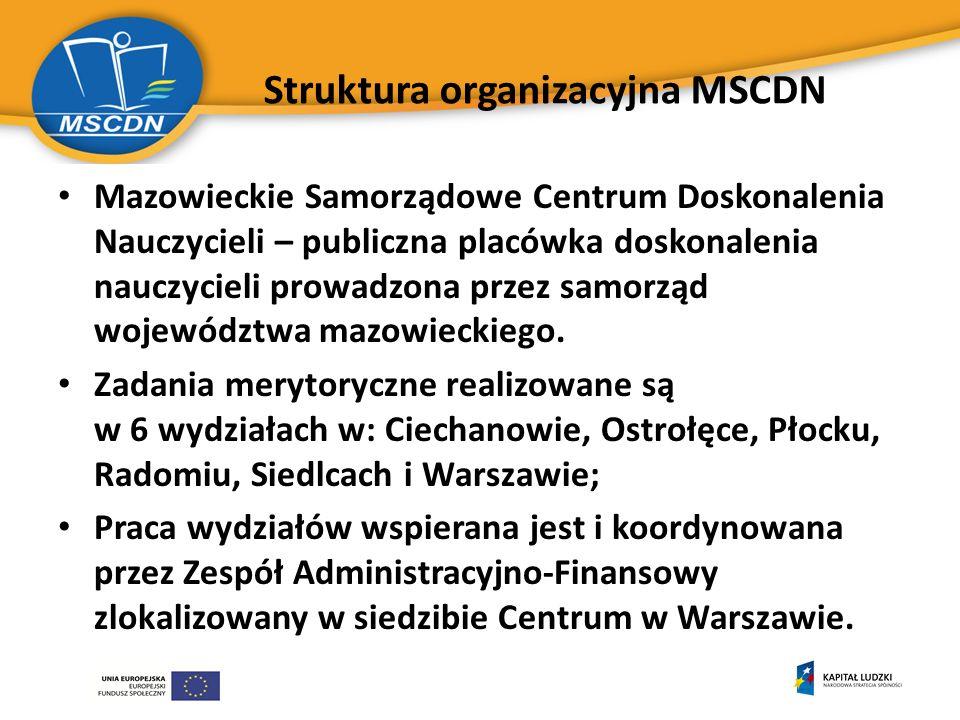 Struktura organizacyjna MSCDN Mazowieckie Samorządowe Centrum Doskonalenia Nauczycieli – publiczna placówka doskonalenia nauczycieli prowadzona przez samorząd województwa mazowieckiego.