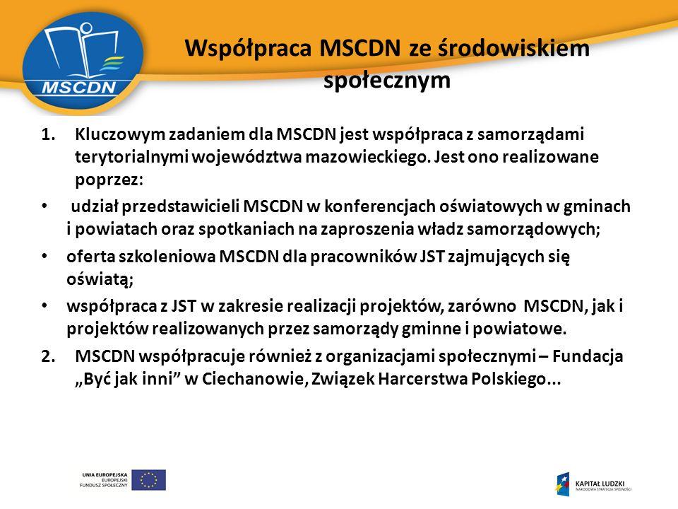 Współpraca MSCDN ze środowiskiem społecznym 1.Kluczowym zadaniem dla MSCDN jest współpraca z samorządami terytorialnymi województwa mazowieckiego.