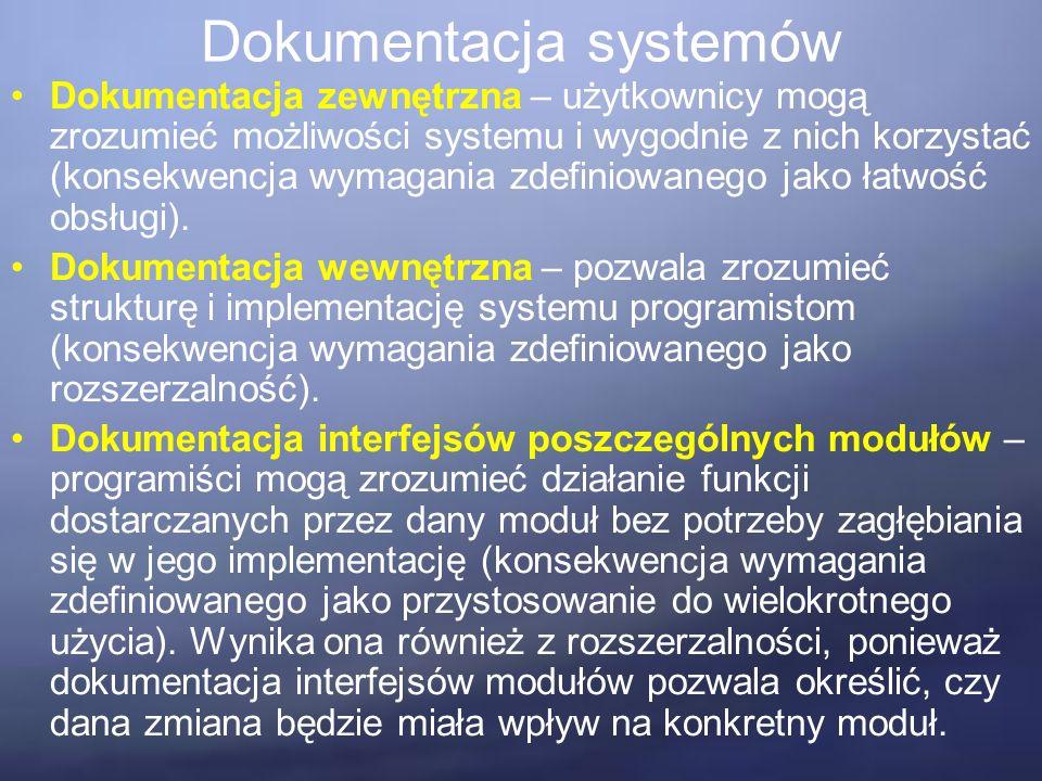 Dokumentacja systemów Dokumentacja zewnętrzna – użytkownicy mogą zrozumieć możliwości systemu i wygodnie z nich korzystać (konsekwencja wymagania zdefiniowanego jako łatwość obsługi).