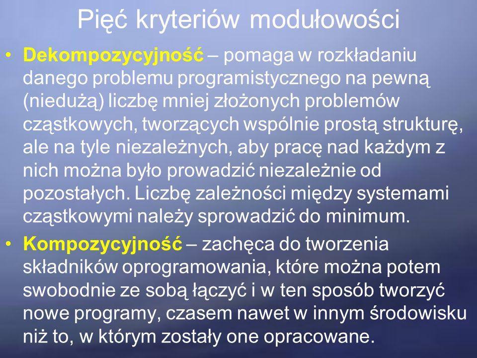 Pięć kryteriów modułowości Dekompozycyjność – pomaga w rozkładaniu danego problemu programistycznego na pewną (niedużą) liczbę mniej złożonych problemów cząstkowych, tworzących wspólnie prostą strukturę, ale na tyle niezależnych, aby pracę nad każdym z nich można było prowadzić niezależnie od pozostałych.