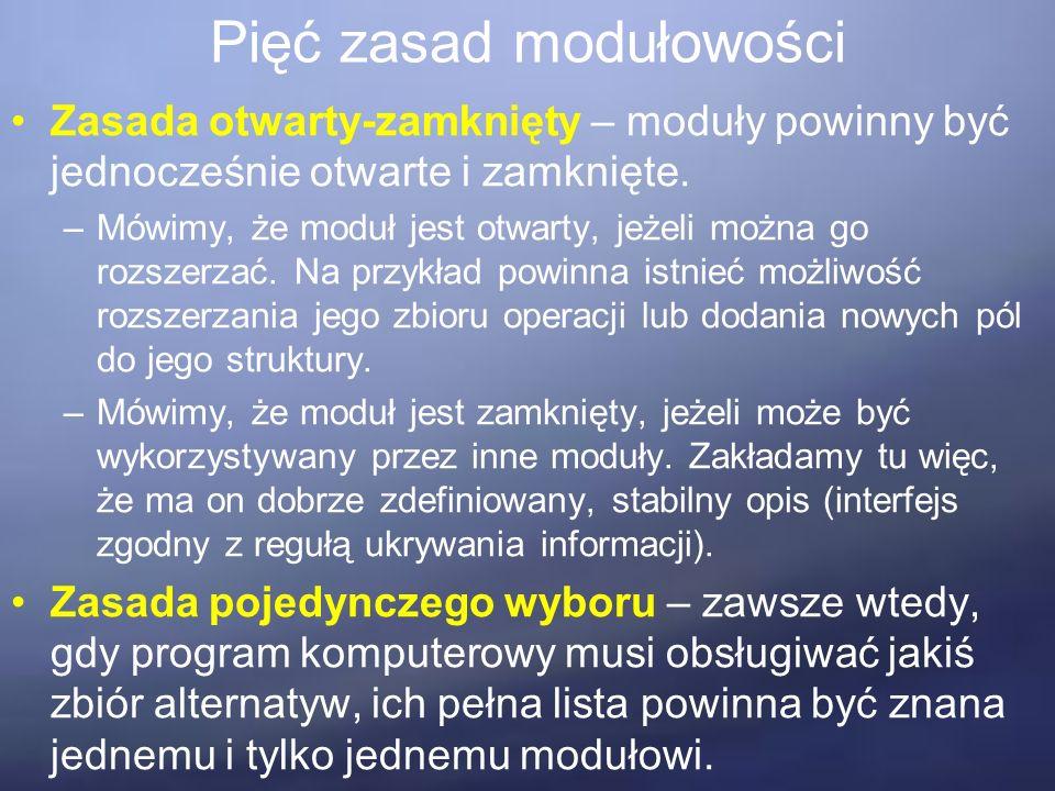 Pięć zasad modułowości Zasada otwarty-zamknięty – moduły powinny być jednocześnie otwarte i zamknięte.
