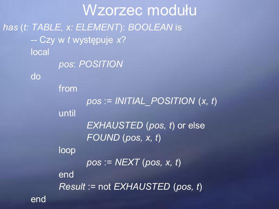 Wzorzec modułu has (t: TABLE, x: ELEMENT): BOOLEAN is -- Czy w t występuje x.