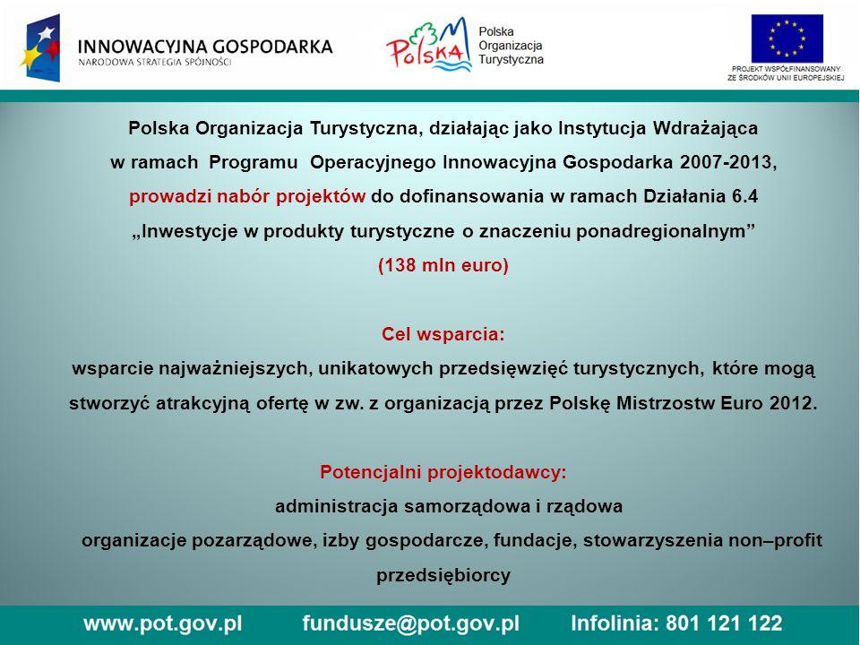 """Polska Organizacja Turystyczna, działając jako Instytucja Wdrażająca w ramach Programu Operacyjnego Innowacyjna Gospodarka 2007-2013, prowadzi nabór projektów do dofinansowania w ramach Działania 6.4 """"Inwestycje w produkty turystyczne o znaczeniu ponadregionalnym (138 mln euro) Cel wsparcia: wsparcie najważniejszych, unikatowych przedsięwzięć turystycznych, które mogą stworzyć atrakcyjną ofertę w zw."""