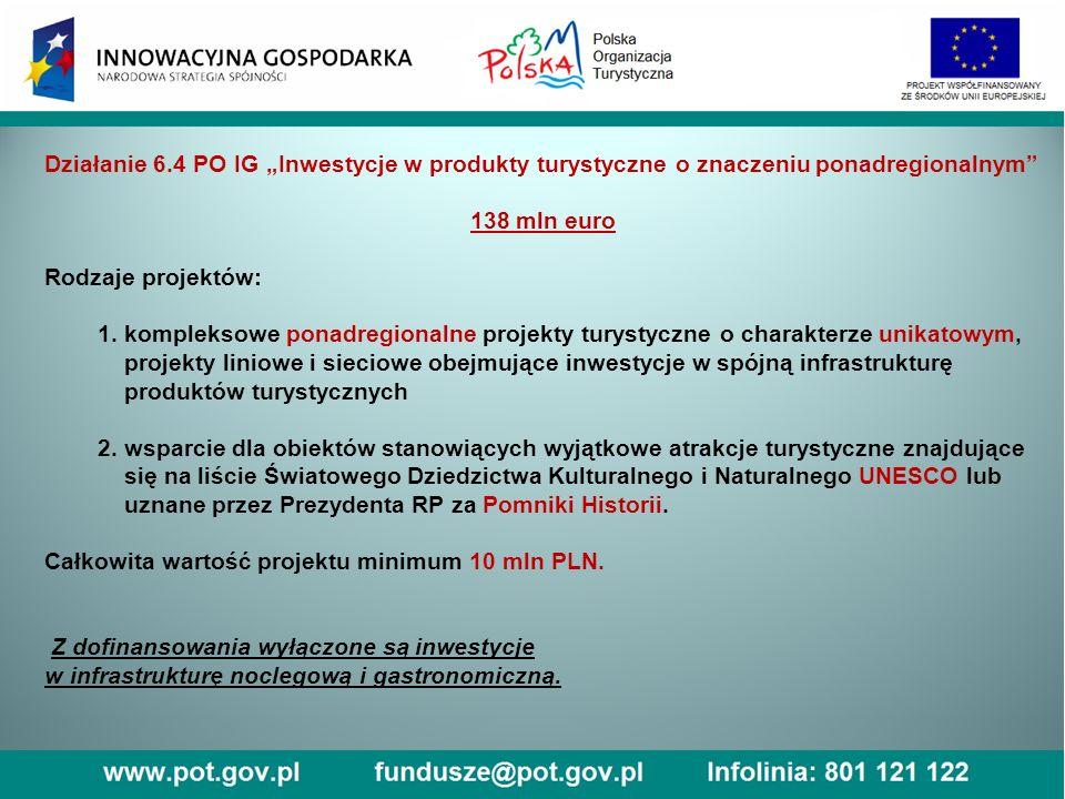 """Działanie 6.4 PO IG """"Inwestycje w produkty turystyczne o znaczeniu ponadregionalnym Aby zgłosić projekt: fiszkę należy wypełnić tzw."""