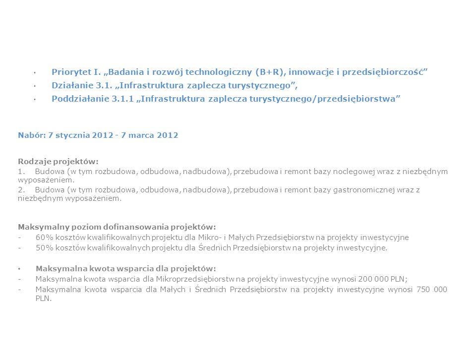 """Priorytet I. """"Badania i rozwój technologiczny (B+R), innowacje i przedsiębiorczość Działanie 3.1."""
