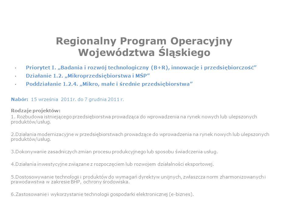 Regionalny Program Operacyjny Województwa Śląskiego Priorytet I.