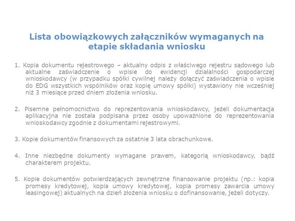 Lista obowiązkowych załączników wymaganych na etapie składania wniosku 1.