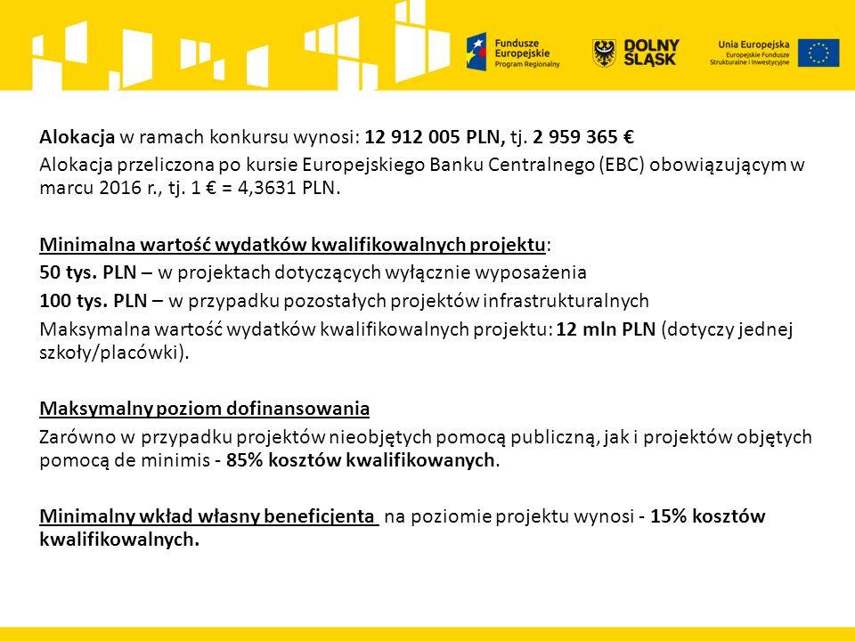 Alokacja w ramach konkursu wynosi: 12 912 005 PLN, tj.