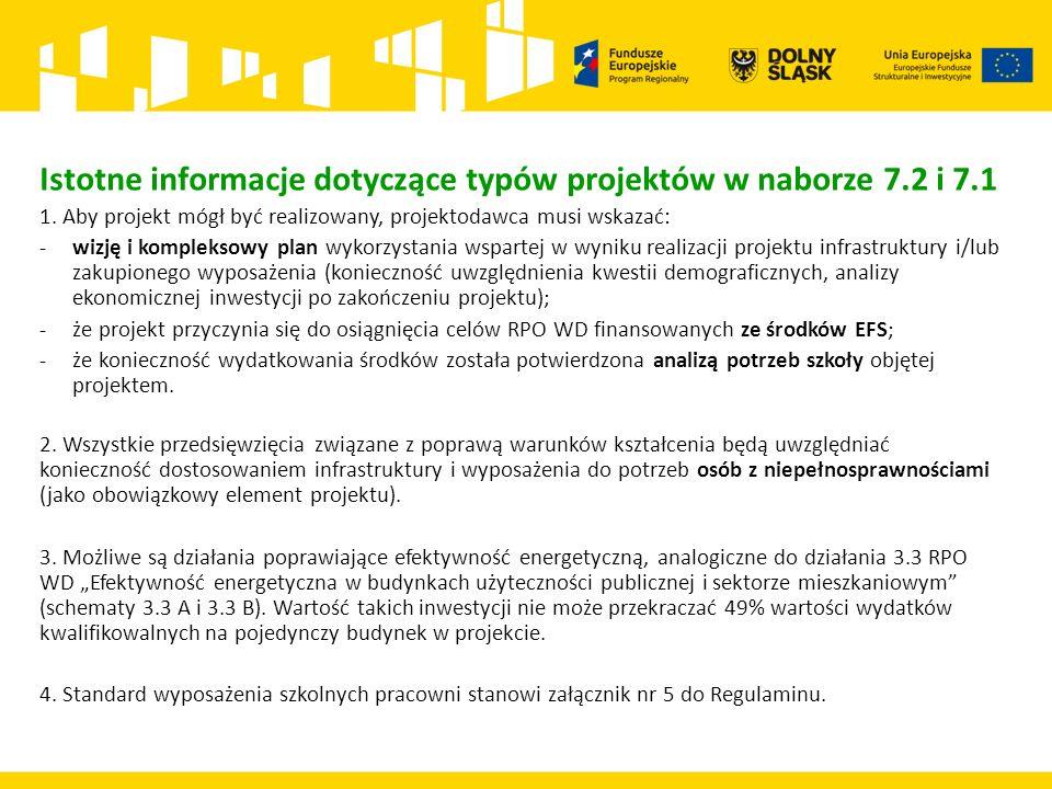 Istotne informacje dotyczące typów projektów w naborze 7.2 i 7.1 1.