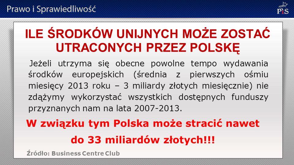 ILE ŚRODKÓW UNIJNYCH MOŻE ZOSTAĆ UTRACONYCH PRZEZ POLSKĘ Jeżeli utrzyma się obecne powolne tempo wydawania środków europejskich (średnia z pierwszych ośmiu miesięcy 2013 roku – 3 miliardy złotych miesięcznie) nie zdążymy wykorzystać wszystkich dostępnych funduszy przyznanych nam na lata 2007-2013.