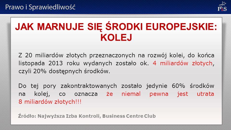 JAK MARNUJE SIĘ ŚRODKI EUROPEJSKIE: KOLEJ Z 20 miliardów złotych przeznaczonych na rozwój kolei, do końca listopada 2013 roku wydanych zostało ok.