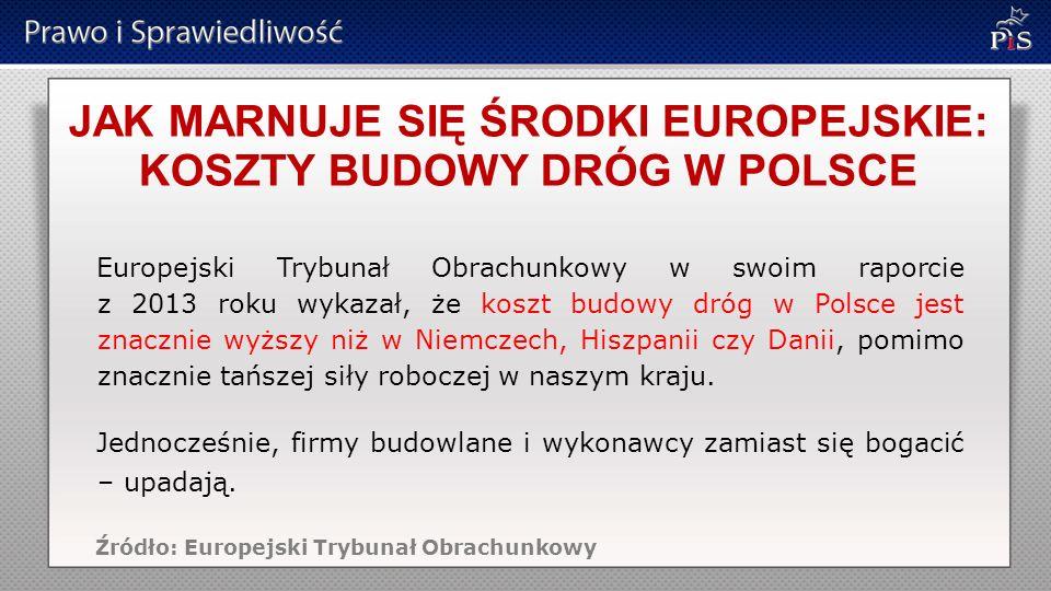 JAK MARNUJE SIĘ ŚRODKI EUROPEJSKIE: KOSZTY BUDOWY DRÓG W POLSCE Europejski Trybunał Obrachunkowy w swoim raporcie z 2013 roku wykazał, że koszt budowy dróg w Polsce jest znacznie wyższy niż w Niemczech, Hiszpanii czy Danii, pomimo znacznie tańszej siły roboczej w naszym kraju.